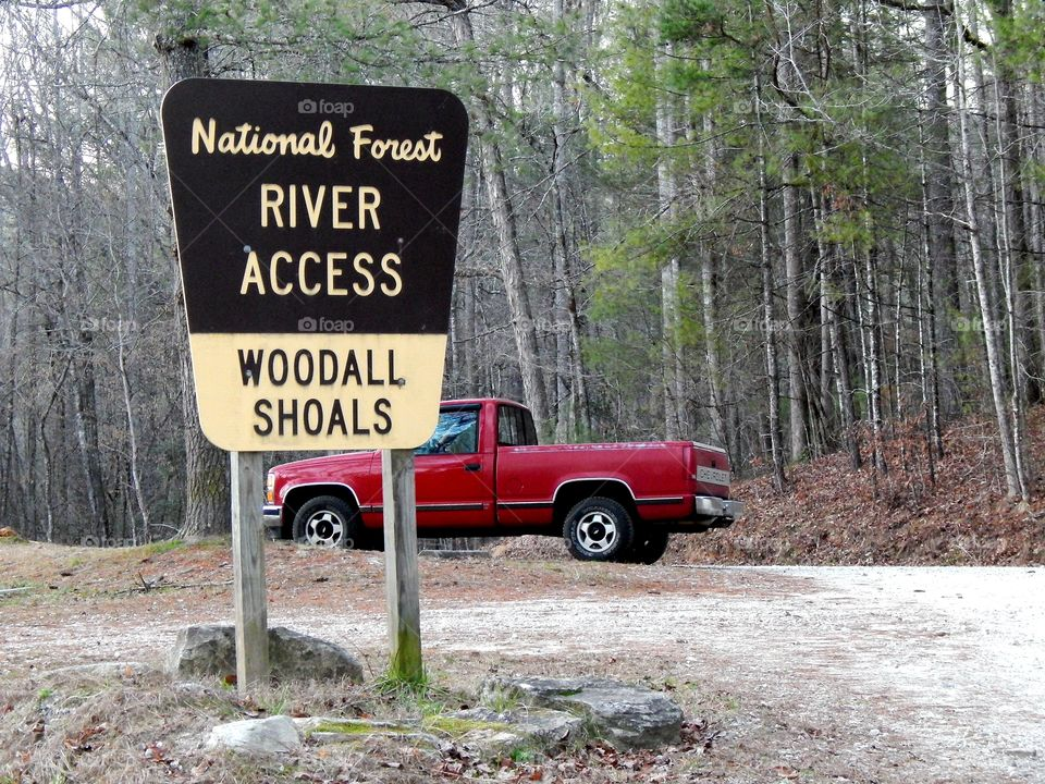 parking area for Woodall shoals on the Chattooga river in South Carolina