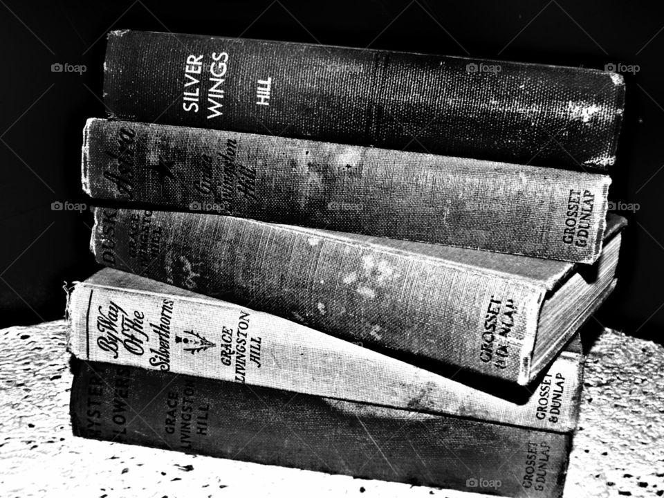 Old books black and white