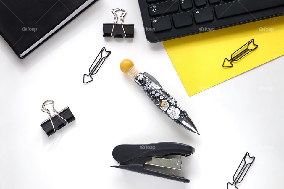 Close-up of office supplies