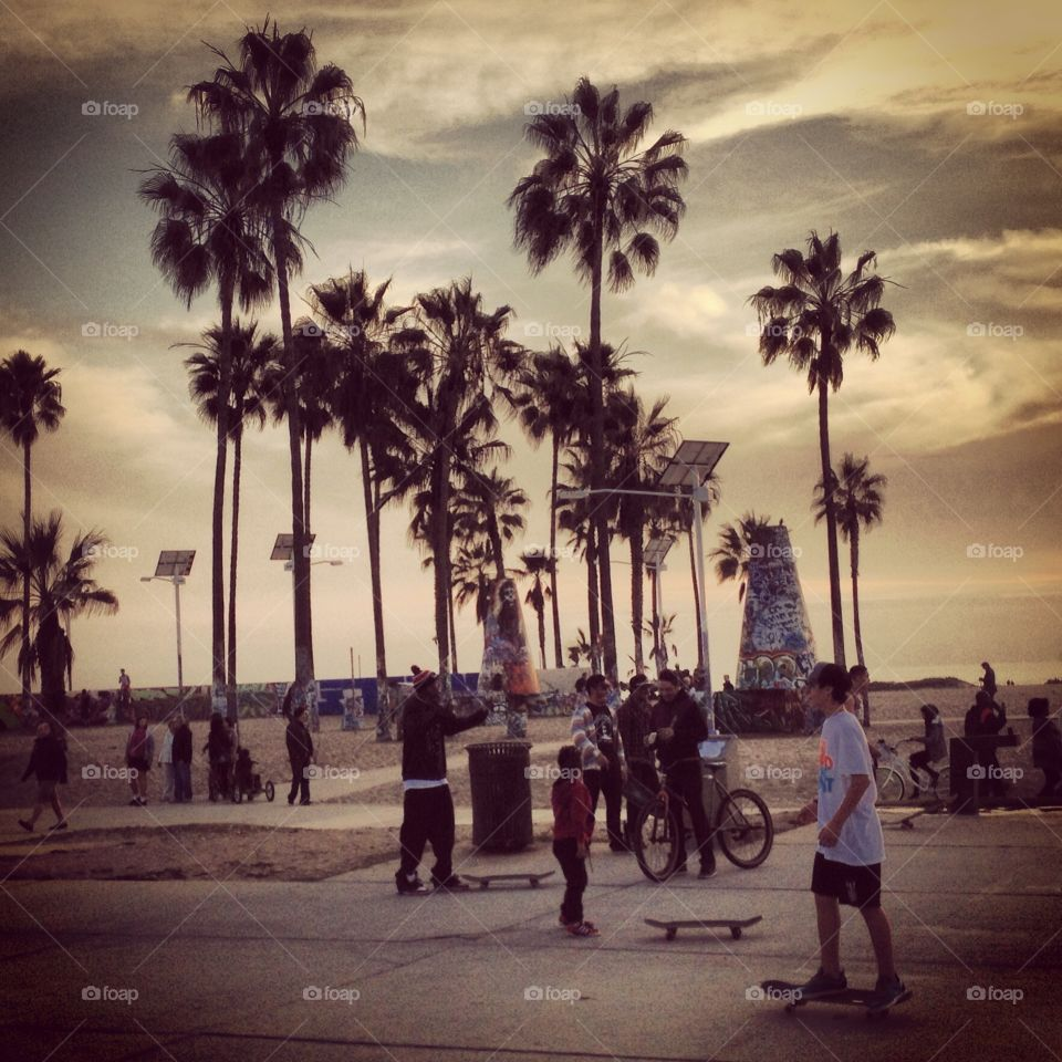Venice Beach in the Summer. A filtered shot of Venice Beach, California during the summer time. Photo by Tony Azzaro.