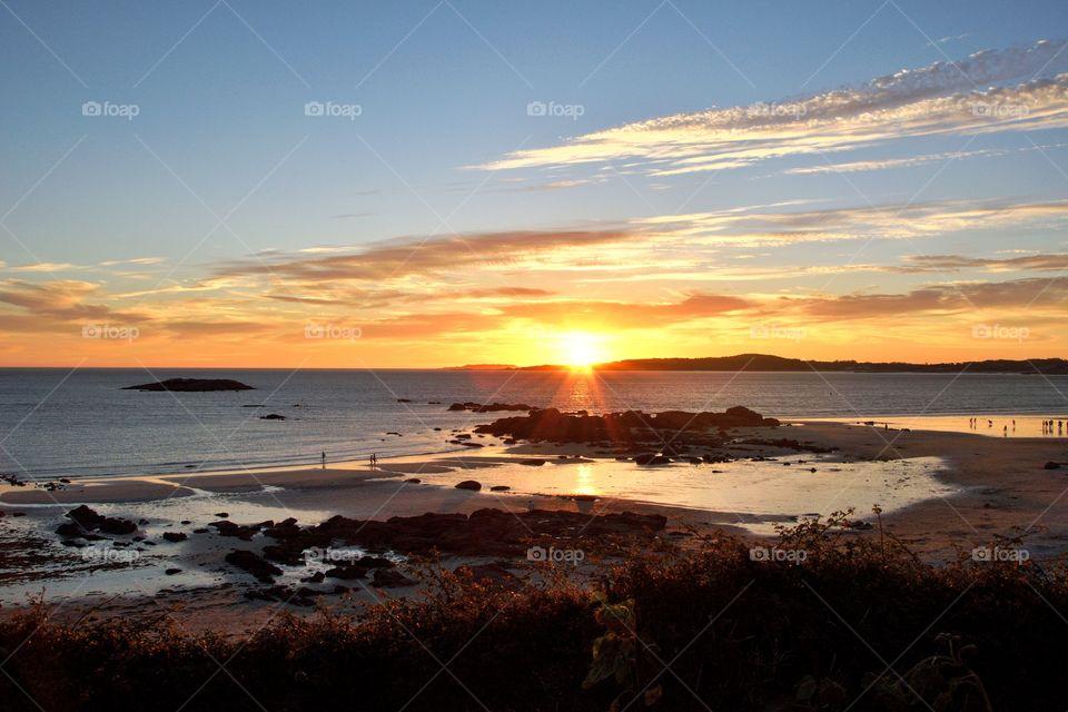 Sunset, A Lanzada beach, Galicia, Spain.