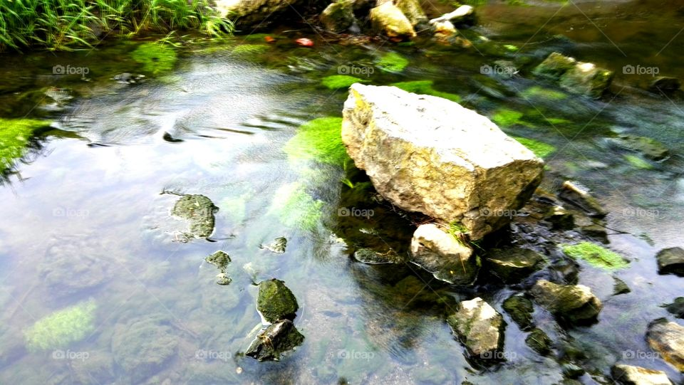 Morning, the water flowing in the mountain stream