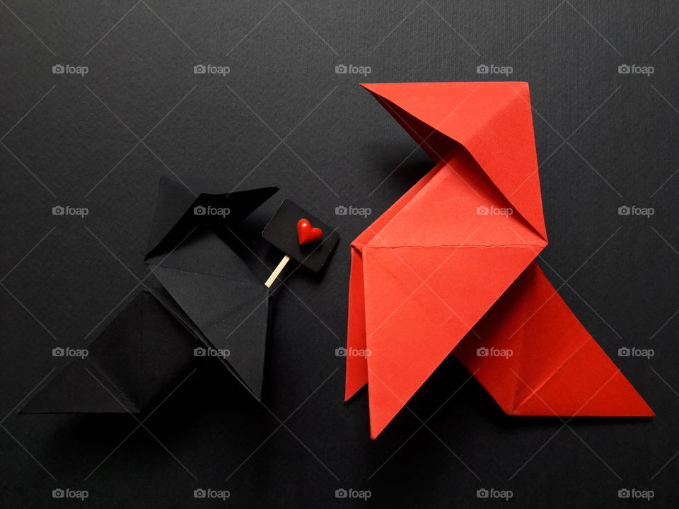 Origami on black background
