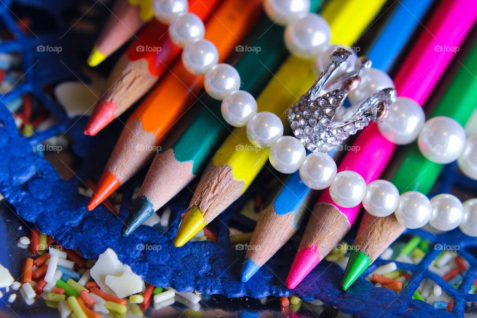 princess pens colorful