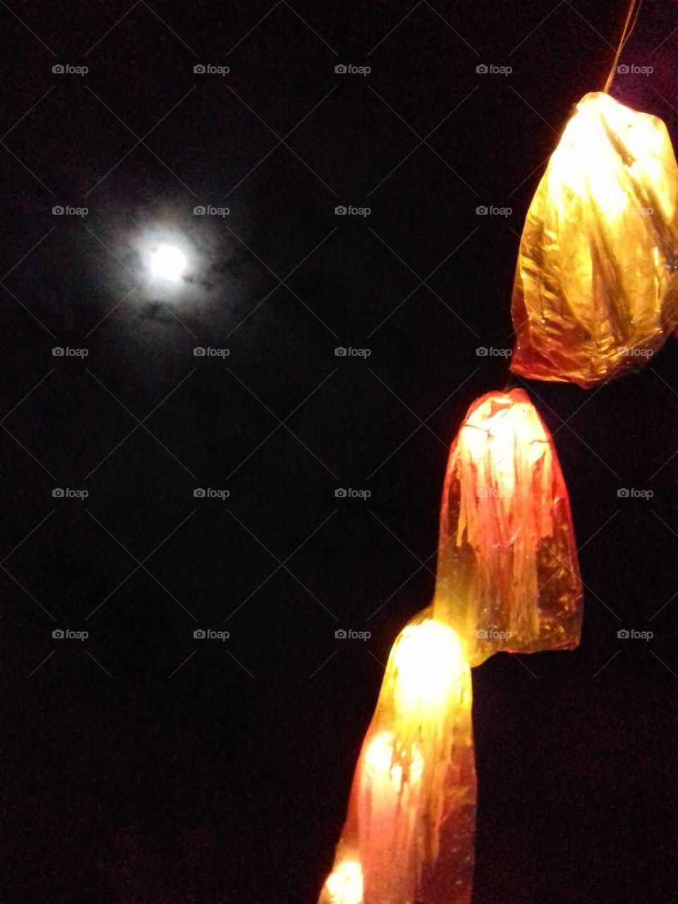 wesak lanterns and full moon