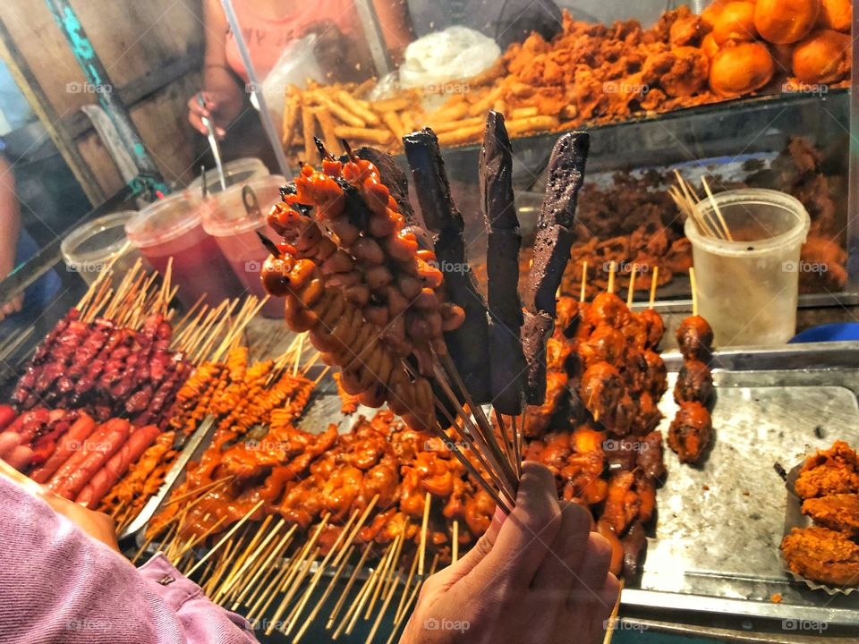 Street food is ready-to-eat food or drink sold by a vendor, in a street or other public place, such as market or fair. Pinoy ihaw-ihaw, anyone? 😋🤤