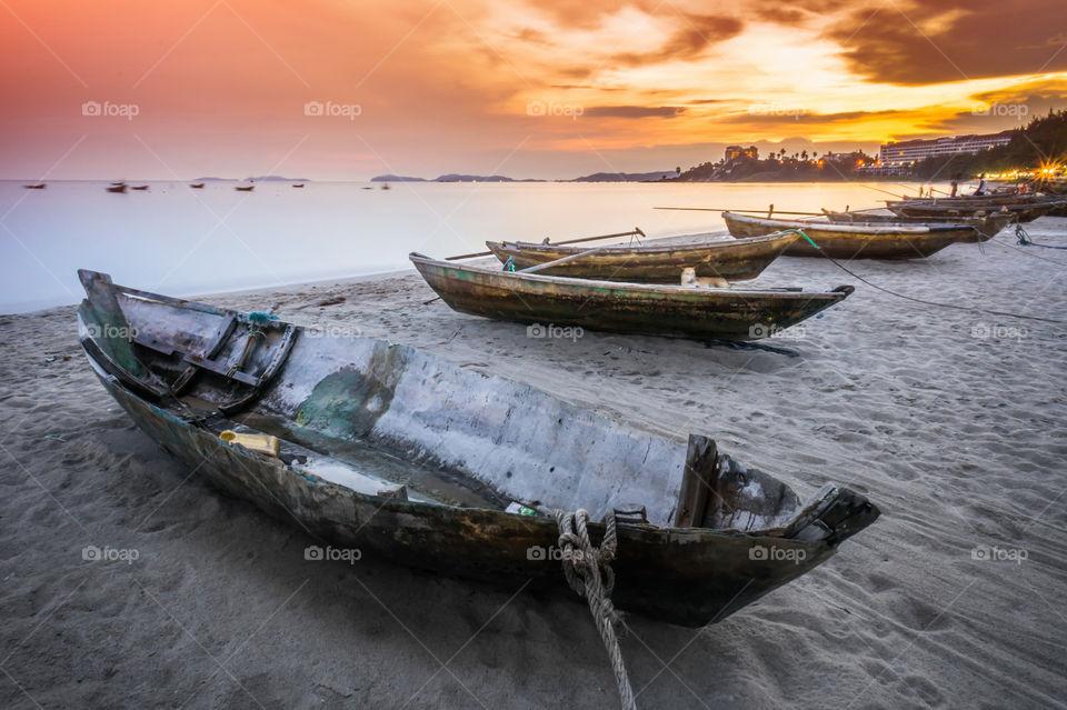 boat, sea, beach, sunset