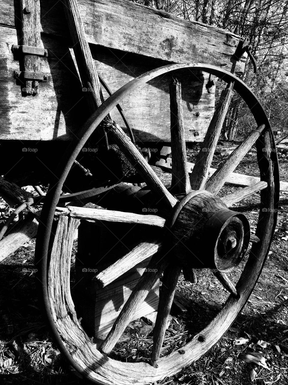 An old broken wagon wheel