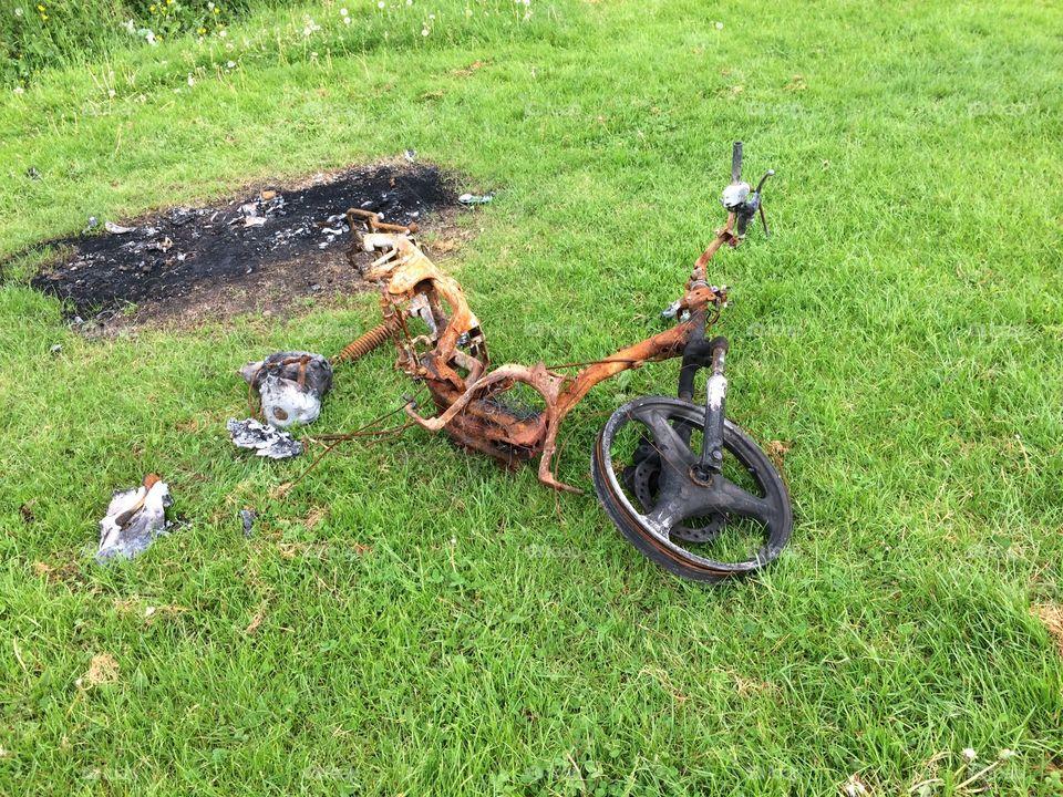 Scrap. Burnt out bike