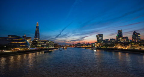 View over the city of London in sunset from Tower bridge.