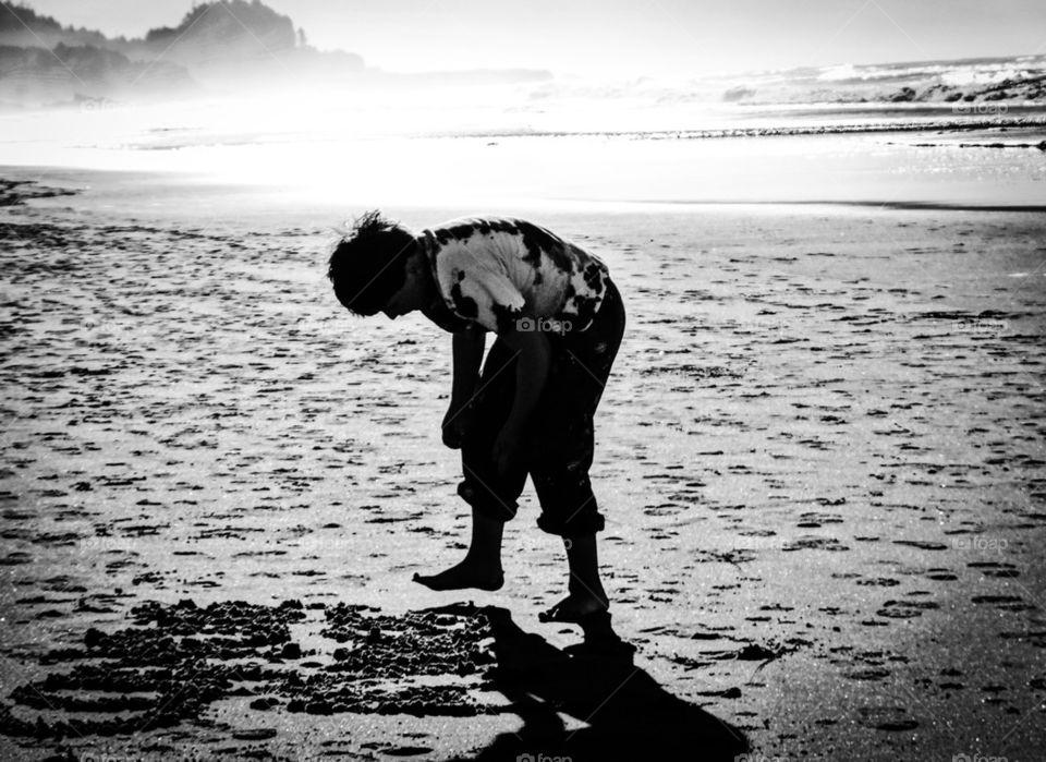 beach | people, sea, water, monochrome