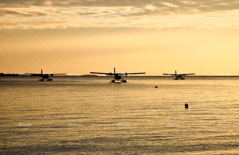 Parked seaplanes.