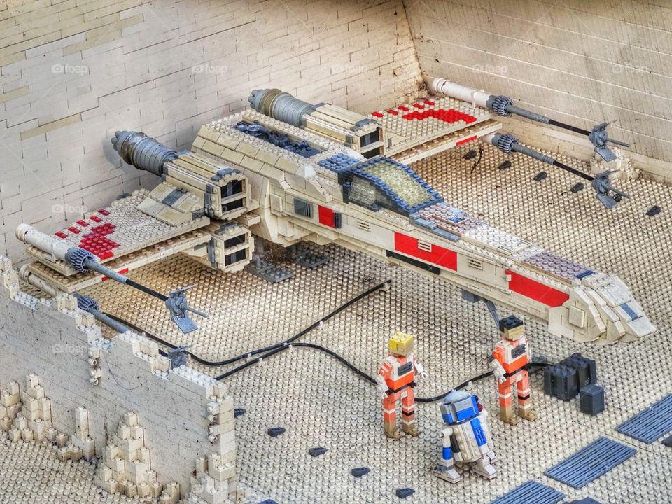 Star Wars X-Wing Diorama. Lego Star Wars Spaceship Replica