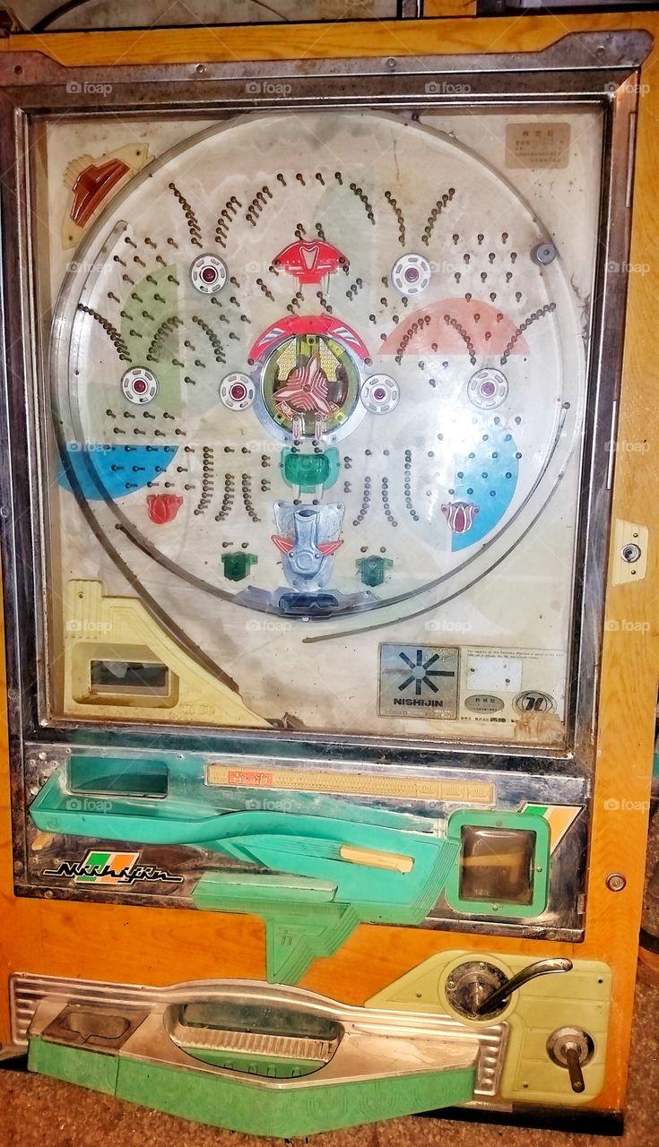 Pachinko machine, an old pinball game.