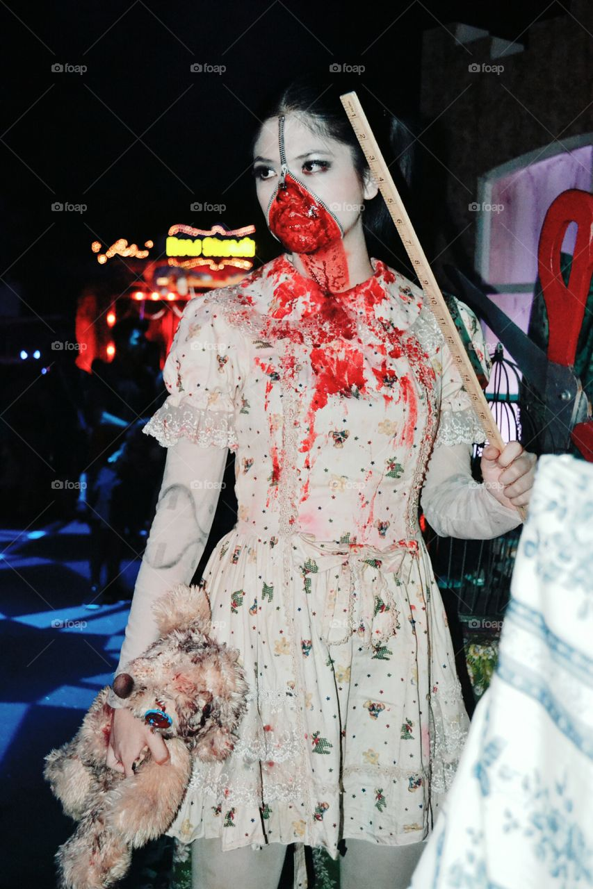 Cool makeup effects on  Halloween horror night at Universal Studio Singapore