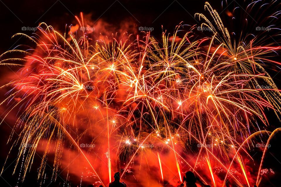 Fireworks in night