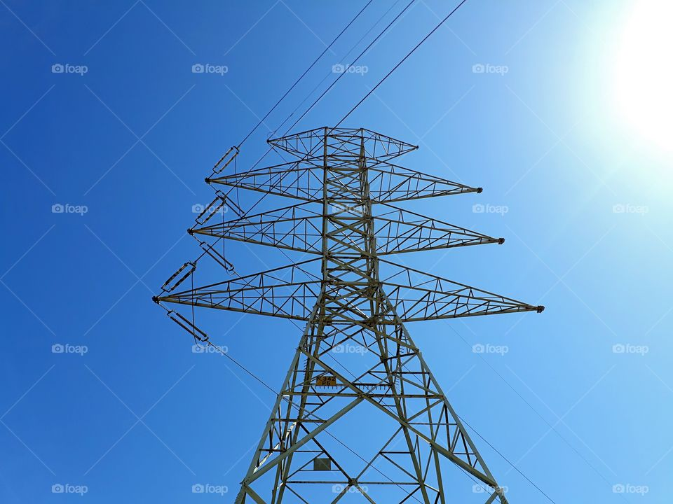 electric tower view from low angle