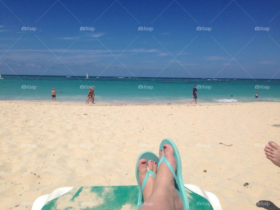 Caribbean beach legs