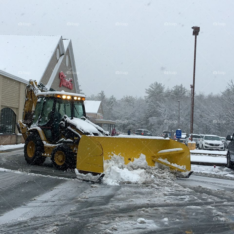 Plowing Snow From Parking Lot Freak Storm in April