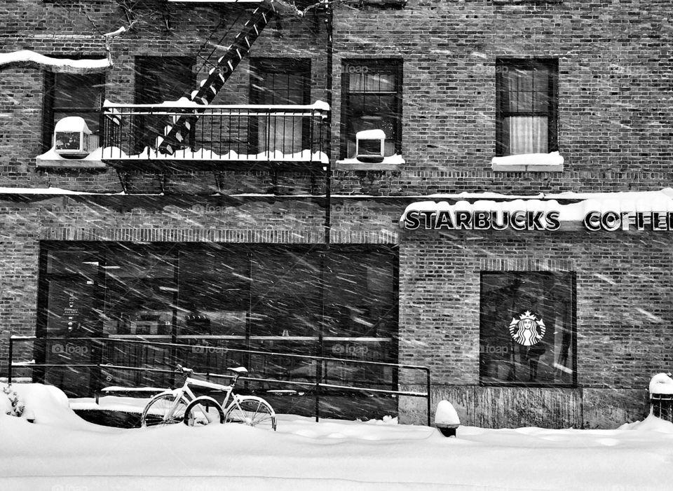 Starbucks in New York City Blizzard
