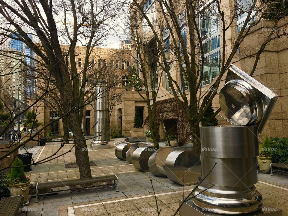 Metal Sculptures In Office Courtyard