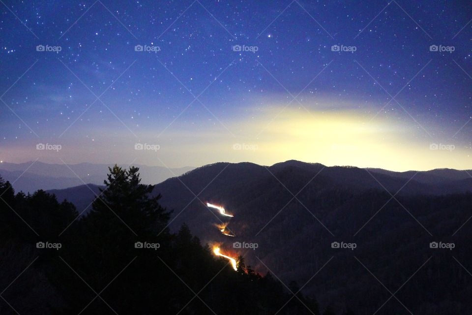 The Great Smokey Mountains National Park at night
