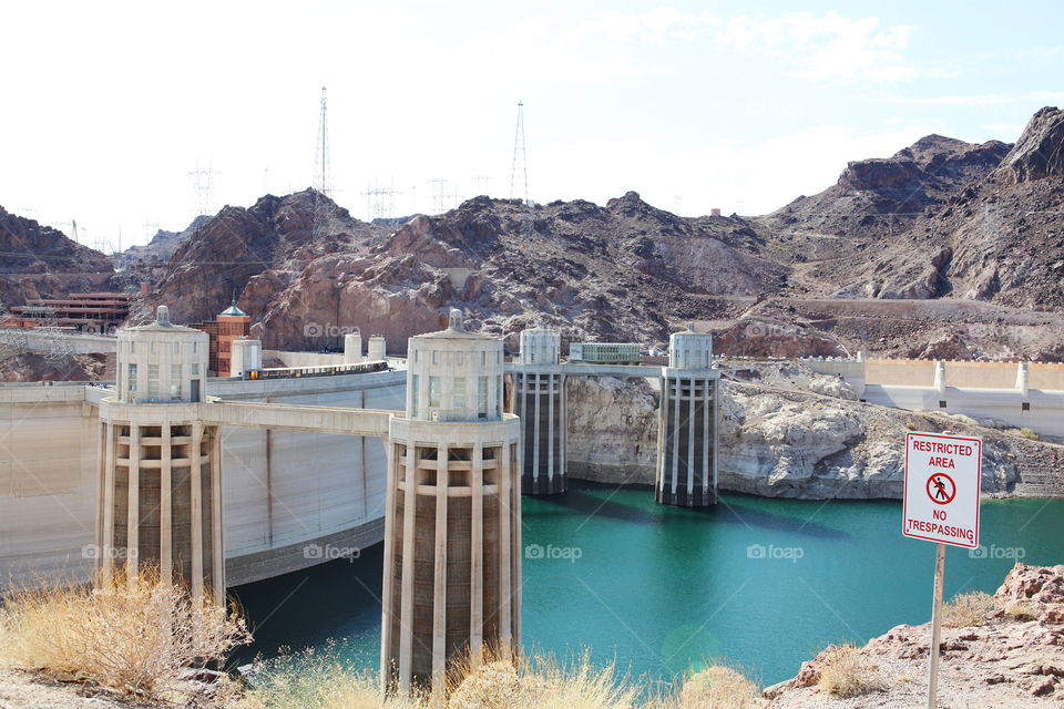 Water Dam. View of the lake behind hoover dam. Wanted to take a closeup shot of the surrounding area
