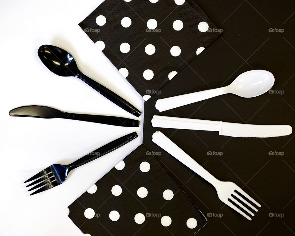 Opposites using black and white table service, abstract