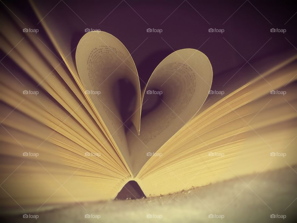 Heart shape made with book page
