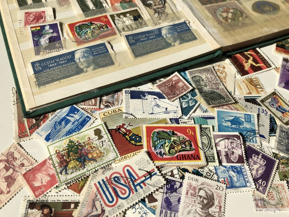 Collecting stamps, hobby