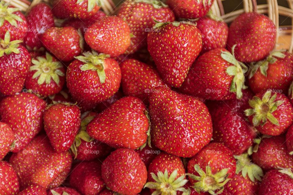 Ripe strawberries in a basket. Strawberry season.