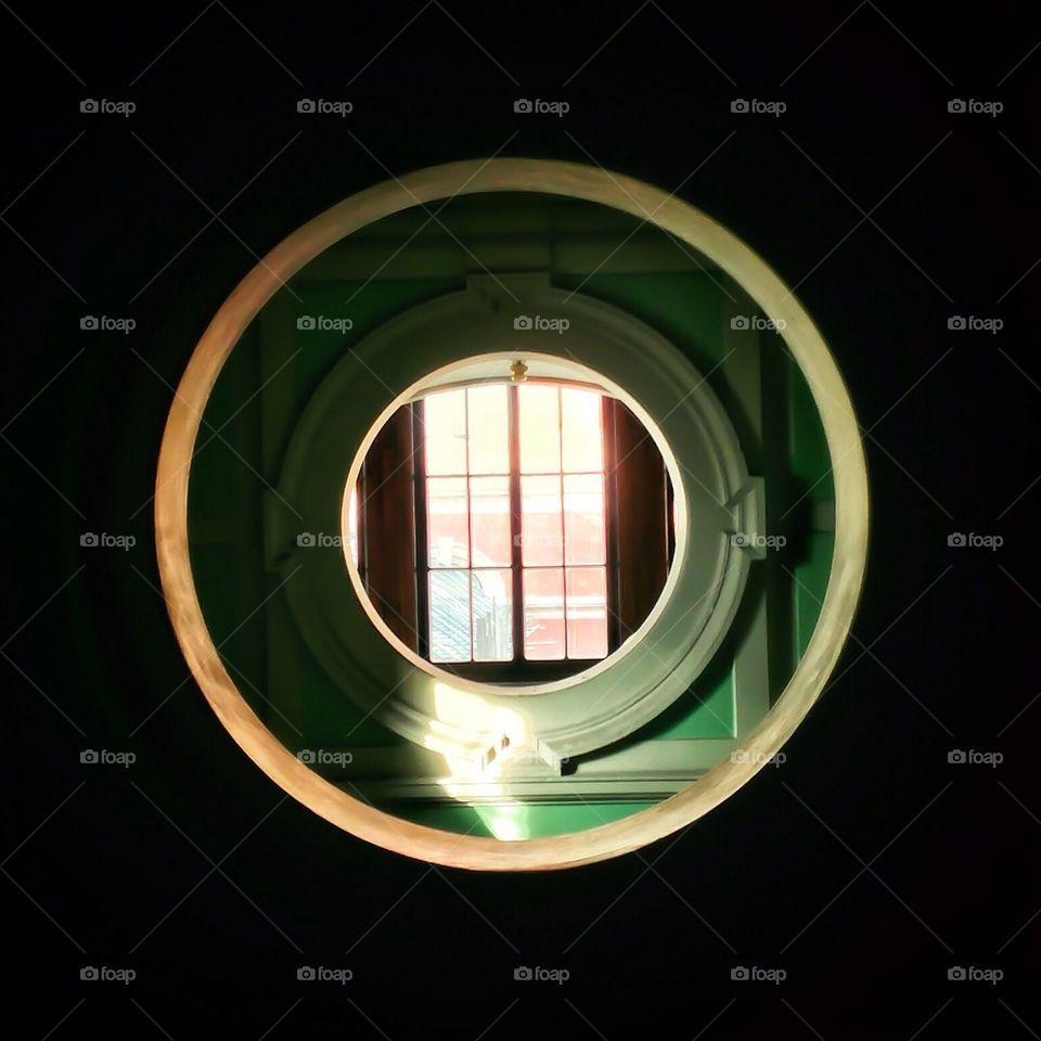 Through the round window!