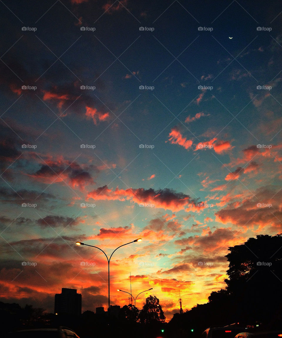 sky red clouds dusk by felipecriscuolo