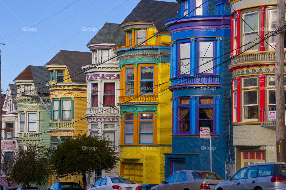 THE HOUSE ROW IN DOWNTOWN SAN FRANCISCO CALIFORNIA USA