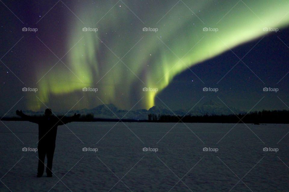northern lights. Northern lights on Mt McKinley