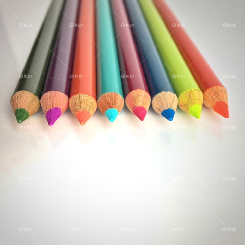 Arrangement of coloured pencils