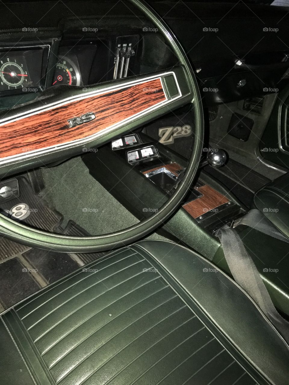Classic 1969 RS Z28 front interior, green