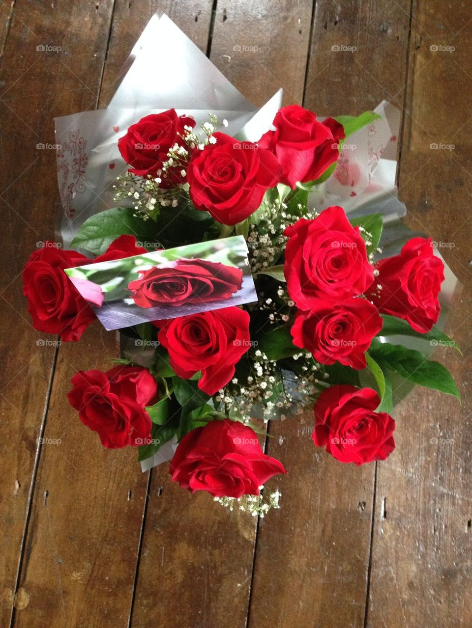 High angle view of red rose bouquet