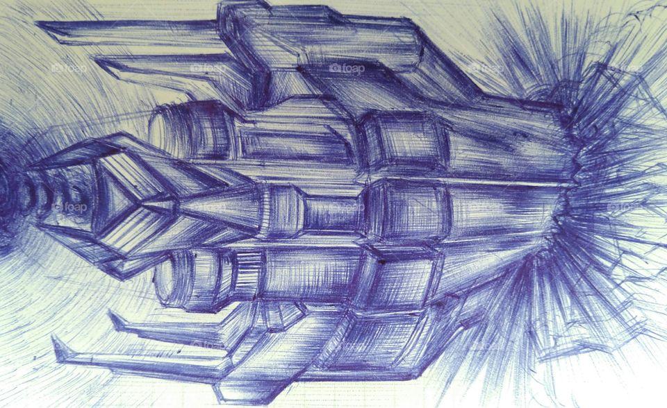 Galactic starship cheap pen drawing