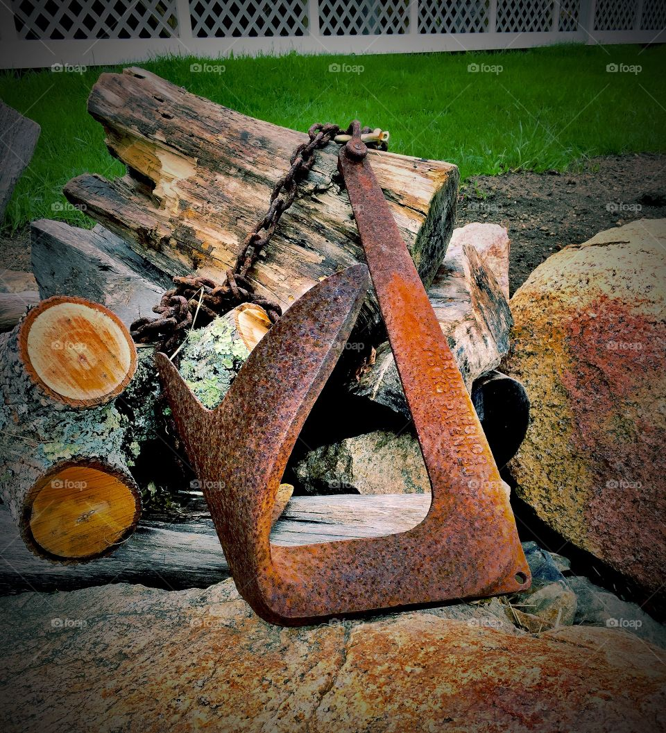 Close-up of anchor with wood