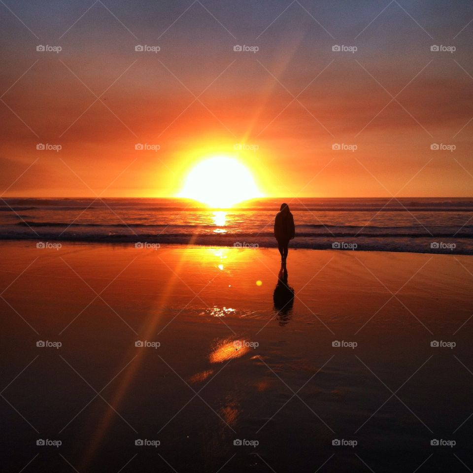 Pacific Sunset. The sun setting over the Pacific in Winchester Bay, Oregon, USA