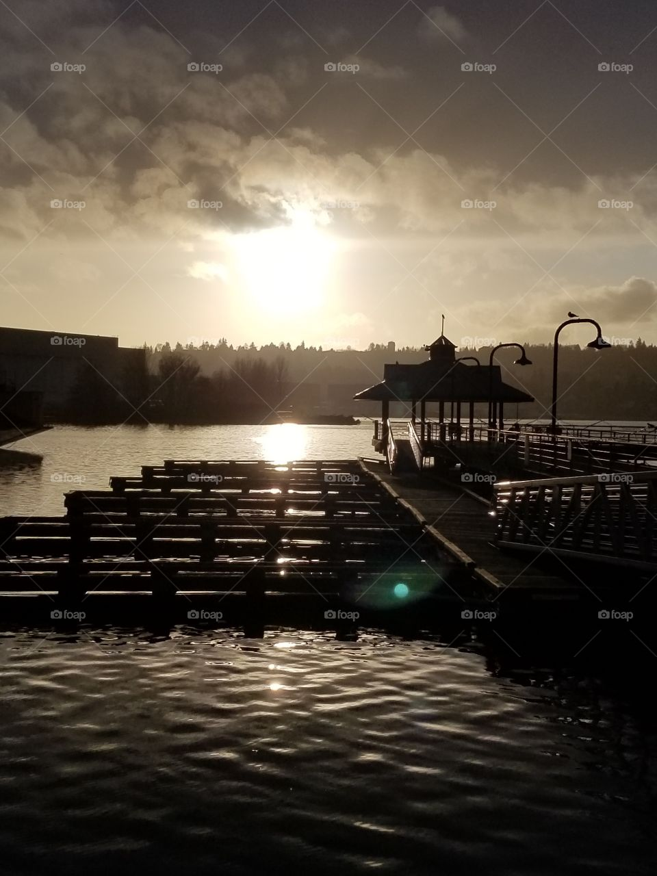 This is a very beautiful picture of a small pier looking over lake Washington in the later hours of the day.