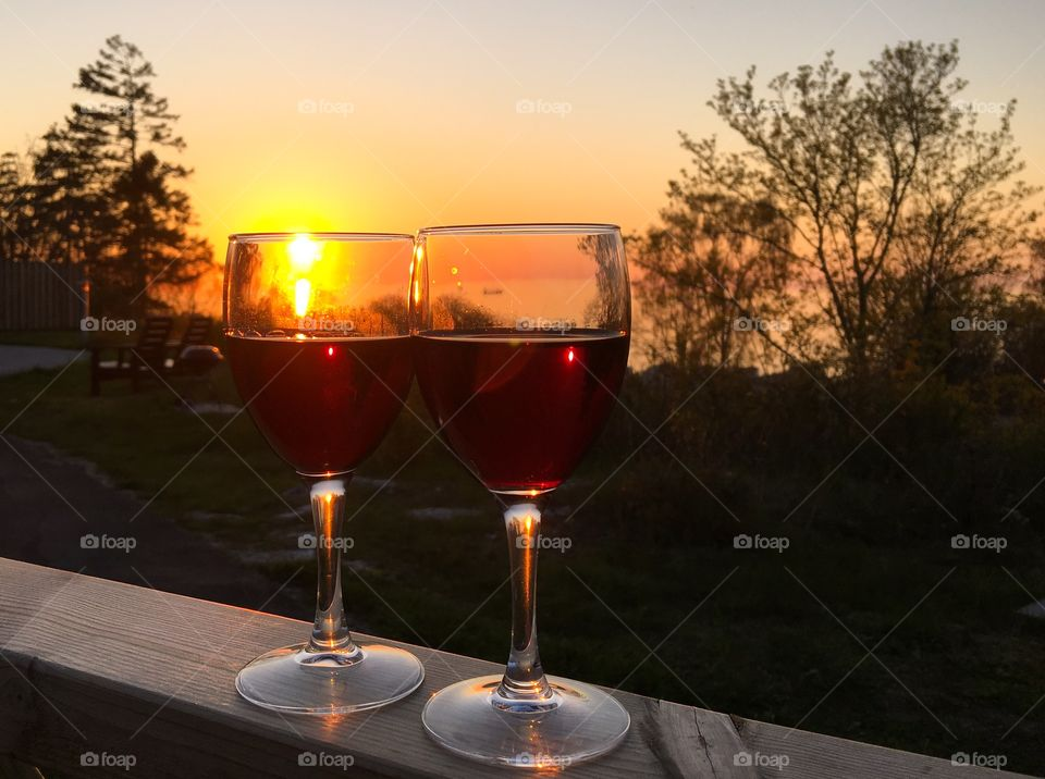 A beautiful sunset and red wine
