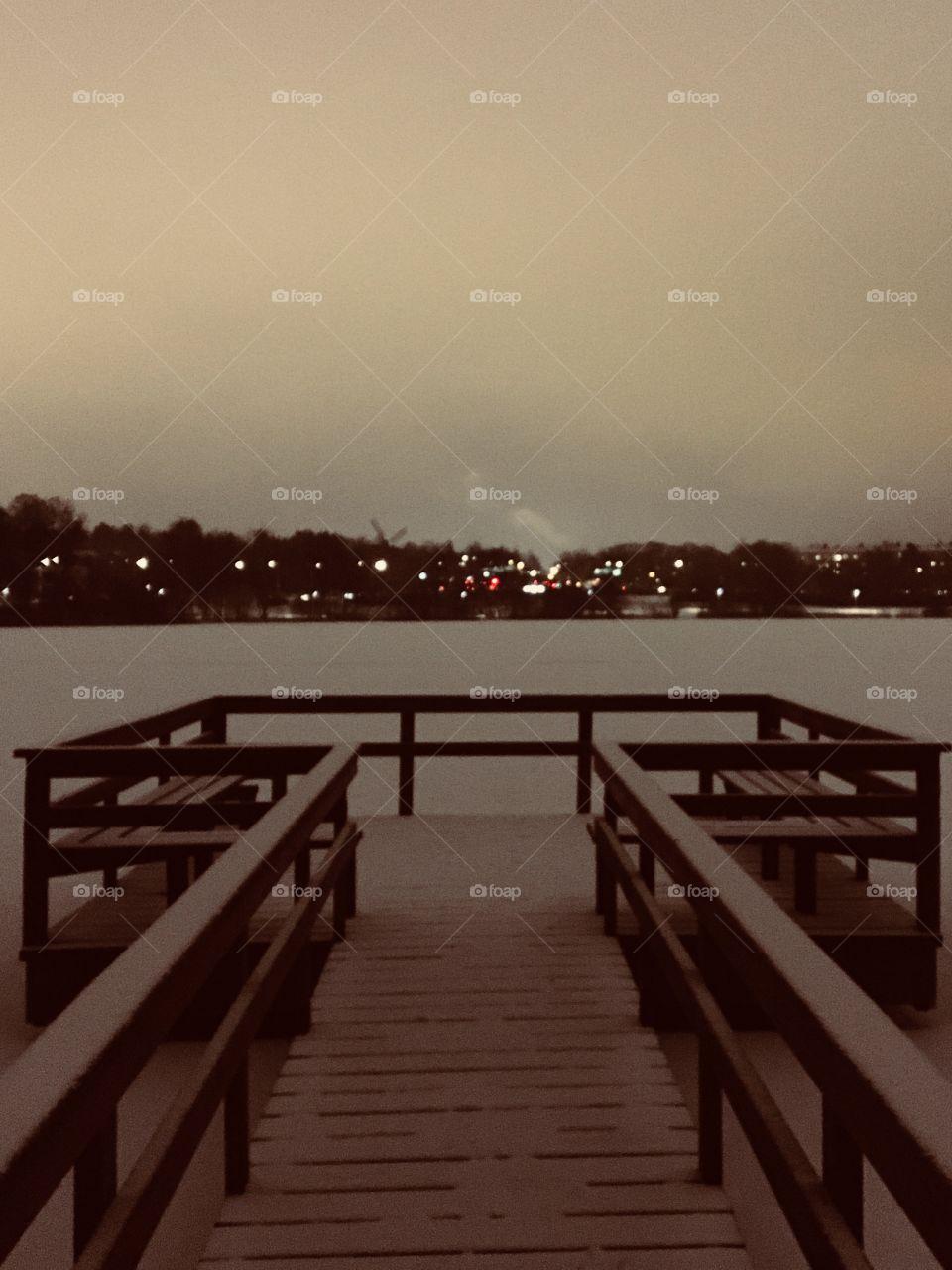 Frozen lake pier