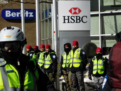 Cops protecting bankers