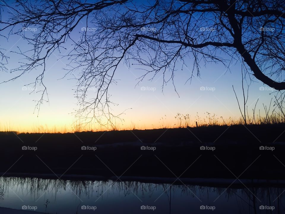 Blue night sky with sunset colors behind the hill. Water and tree creates frame to that beauty.