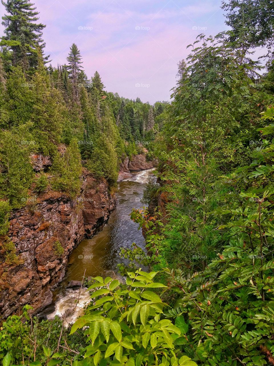 River on Border of Canada and Minnesota. Canada is on the left, Minnesota on the right.