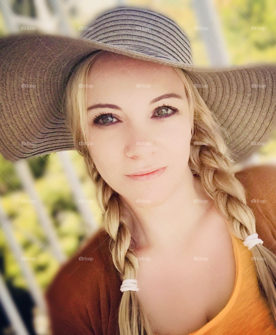 Woman with hat. Country style.