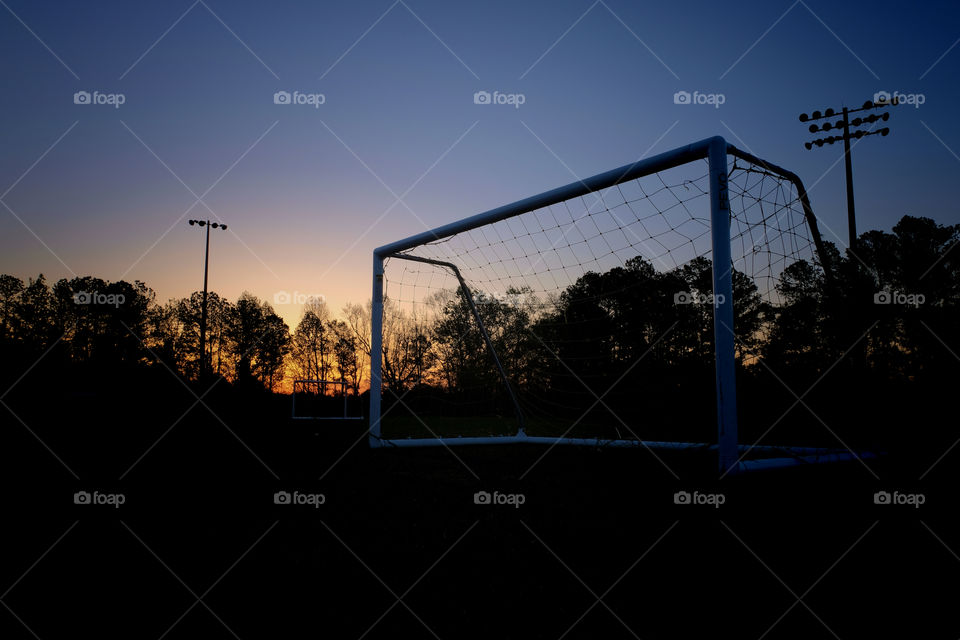 View from the soccer complex during sunrise at Centennial Park in Garner North Carolina, Raleigh, Triangle area, Wake County.