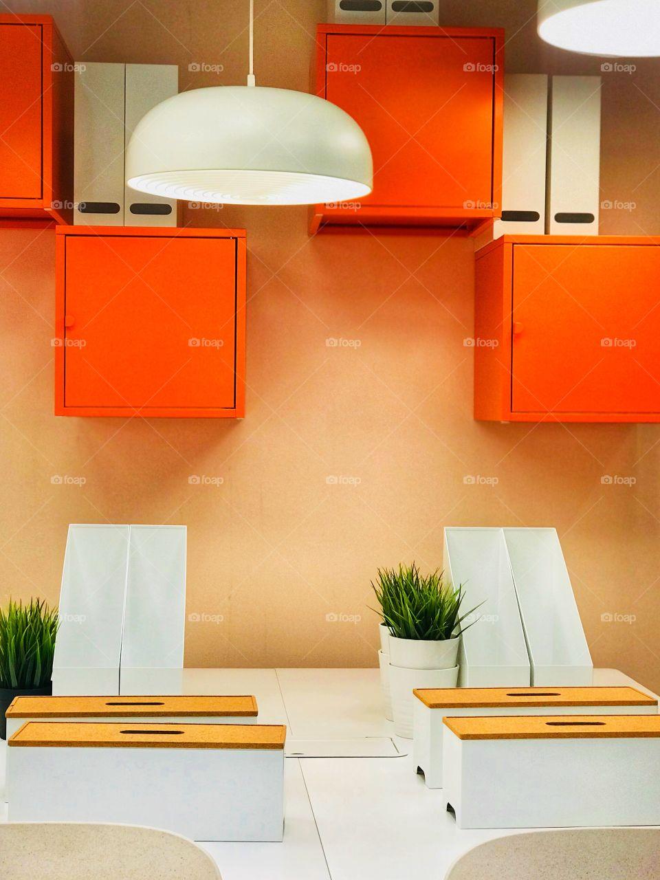 orange office design-ikea